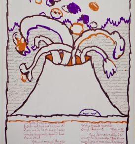 Pierre Alechinsky volcan dépeint 1971