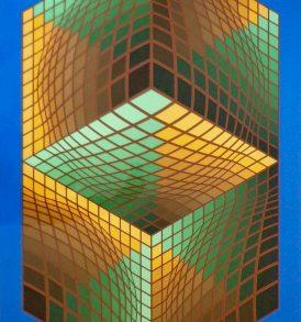 Vasarely silkscreen circa 1985